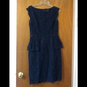 Teri Jon Navy Lace jeweled belt peplum dress NWOT